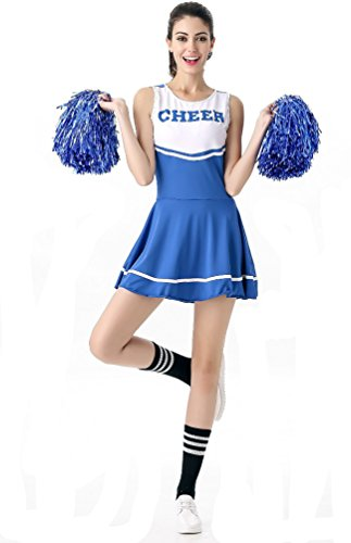 Blue Cheerleader Costume (SWISH Women's Adult Cheerleader Costume Fancy Dress Sport Cheerleading Ourfit (Blue))