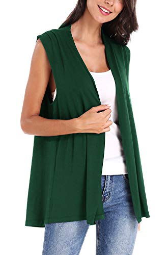 (Women's Sleeveless Open Front Cardigan Vest Coat (L, Dark Green))