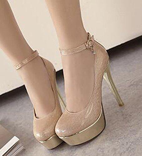 Idifu Femmes Sexy Haute Pointes Talons Aiguilles Plate-forme Boucle Cheville Sangle Pompes Chaussures Abricot
