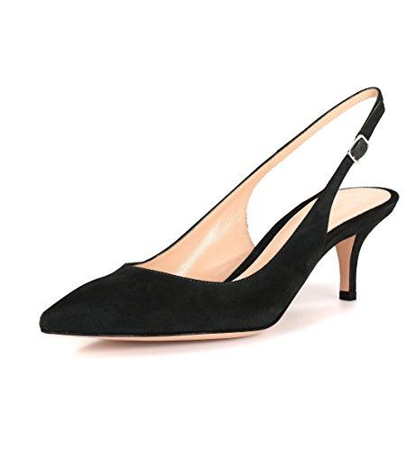 Absatz Toe Heel 6 Pointed Schuhe Black EDEFS Spitze Damen Kitten Pumps Mittlerer Slingback Suede 5cm wWEPzZq