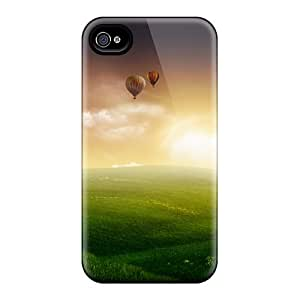 Rugged Skin Case Cover For Iphone 4/4s- Eco-friendly Packaging(nature Balloon Ride)