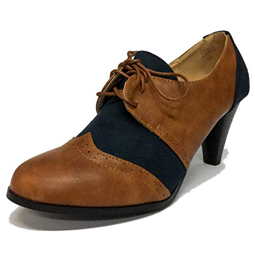 (Chase & Chloe Dora-5 Two Tone Lace up Low Heel Women's Oxford (10 B(M) US, Cognac/Navy))