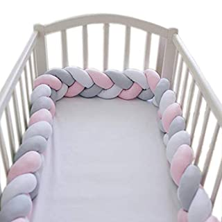 LOAOL Baby Bed Bumper Knotted Braided Plush Nursery Cradle Decor Newborn Gift Pillow Cushion Junior Bed Sleep Bumper (White-Gray-Pink, 6.5 Feet)