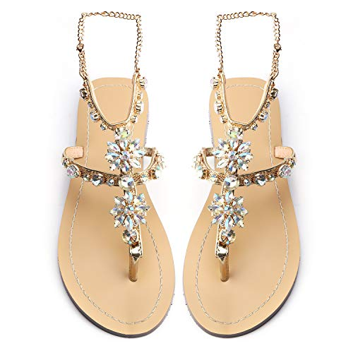 - Odema Women's Crystal Diamond Rhinestone Bohemia Flip Flops Beach T-Strap Flat Sandals Gold
