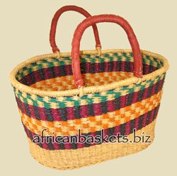 Bolga Baskets International Large Oval w/ Two Leather Wrapped Handles (Colors Vary) - Hand Woven Oval Basket