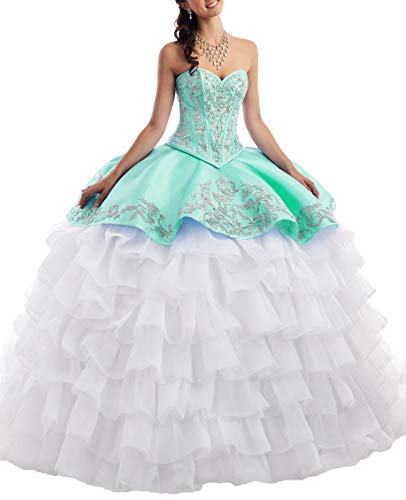 EileenDor Women's Satin Embroidery Ball Gown Sweet 16 Quinceanera Dresses with Jacket Beading High Low Prom Gown Mint