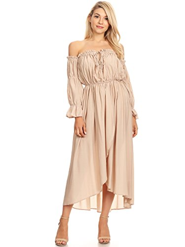 Anna-Kaci Womens Casual Boho Long Sleeve Off Shoulder Renaissance Peasant Dress, Beige, Medium