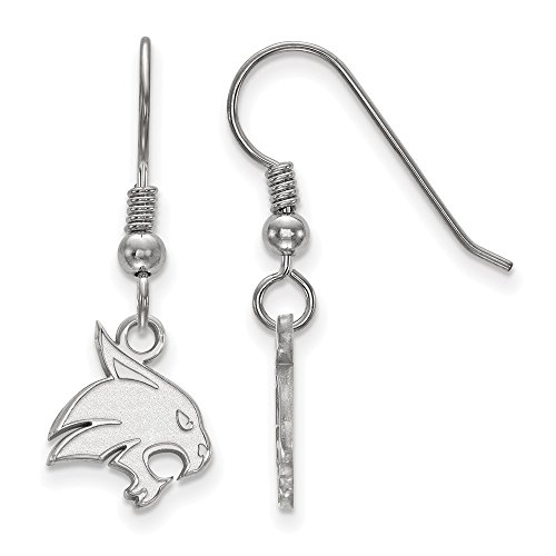 925 Sterling Silver Officially Licensed Texas State University College Small Dangle Wire Earrings