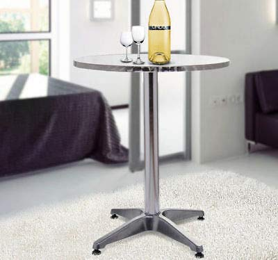 Modern Round Bar Table Adjustable Bistro Pub Counter Aluminum Indoor