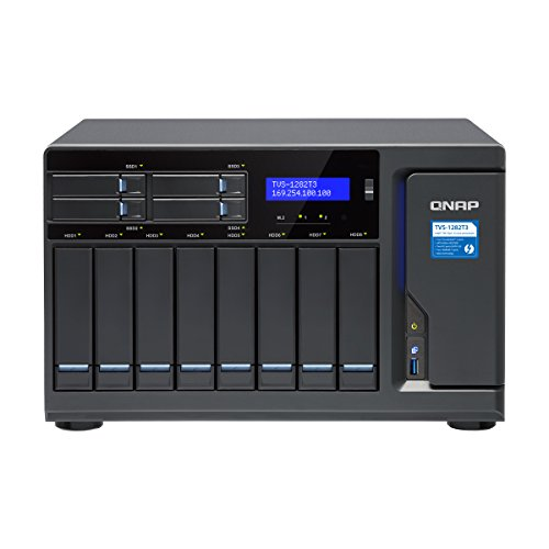 Qnap TVS-1282T3-i7-64G-US Ultra-High Speed 12 bay (8+4) Thunderbolt 3 NAS/iSCSI IP-SAN, Intel 7th Gen Kaby Lake Core i7 3.6GHz Quad Core, 64GB RAM, Thunderbolt3 port x 4 and 10Gbase-T x 2 by QNAP