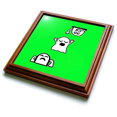 3dRose BlakCircleGirl - Halloween - Peek-A-Boos - Little ghosties having some fun. - 8x8 Trivet with 6x6 ceramic tile (trv_306704_1) -