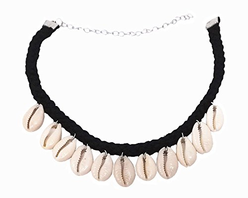 Honbay Natural Shell Cowry Clavicle Necklace, Seashell Drop Short Necklace Choker for Women and Girls -