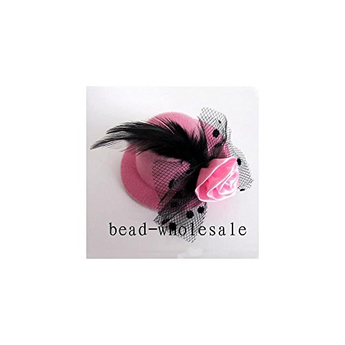 Dickness Elegant Mini Top Feather Hat Fascinator Hair Clip Party Costume Color: Pink (Infant Pink Flapper Costume)