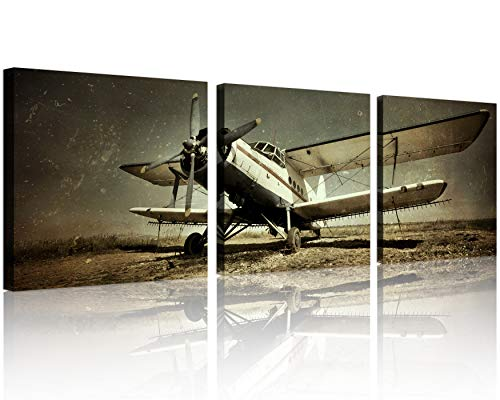 (QICAI Vintage Airplane Wall Art Giclee Canvas Vintage Airplane Canvas Prints Old Paper Airplane Pictures Canvas Stretched and Framed Aircraft Pictures Paintings Artwork for Home Decor,3 pcs/set)