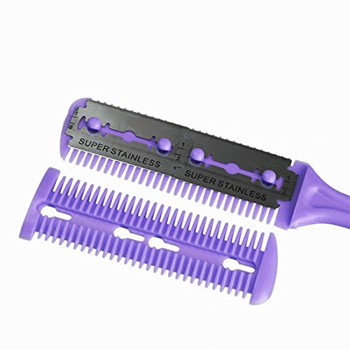 Yosoo Professional Trimmer Razor DIY Hair Comb Dual Side Cutting Scissors Slim Haircuts Cutting Tool Blade Purple