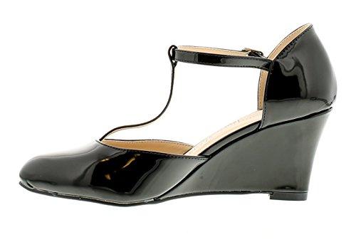 COMFORT PLUS de Charol Para Dama Tacón Cuña Barra T de Salón Zapato con Tira EN Tobillo Elegante, Elegante Zapato That Podría Be usaba Para el Trabajo - A Day In The Oficina o EN Una JUERGA A F