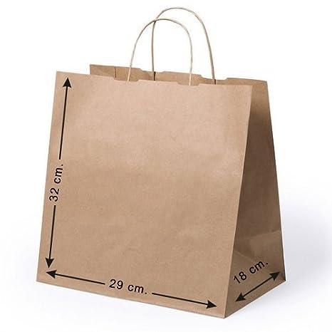 10 x Bolsas de papel con asas. Tam 30 x 29 x 18 cm.: Amazon ...