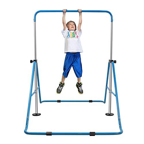 YEEGO Expandable Gymnastics Bar, Folding Horizontal Kip Bars Junior Premium Gymnastic Equipment Monkey Climbing Tower Home Training for Kids (Blue)