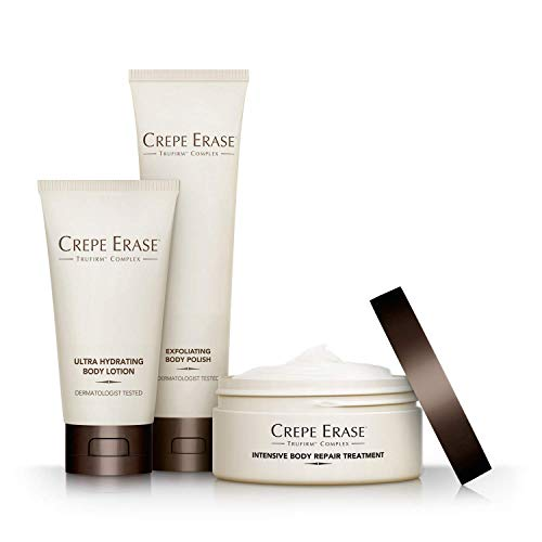 Crepe Erase - Starter Daily 3 Piece Kit - Intensive Body Repair Treatment - Exfoliating Body Polish - Ultra Hydrating Body Lotion - TruFirm ()