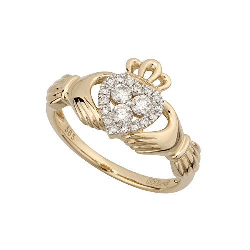 Solvar 14K Diamond Claddagh Ring, Size 10