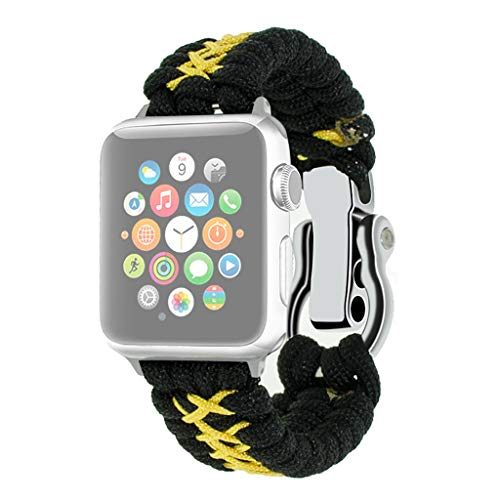 (Sapienc for Apple Watch Band Replacement Nylon Woven Band for iWatch 4/3/2 38mm/40mm 42mm/44mm (Yellow, 42mm/44mm))