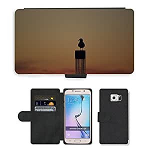 Hot Style Cell Phone Card Slot PU Leather Wallet Case // M00114210 Seagull Sunset Outline Coast Mood // Samsung Galaxy S6 (Not Fits S6 EDGE)