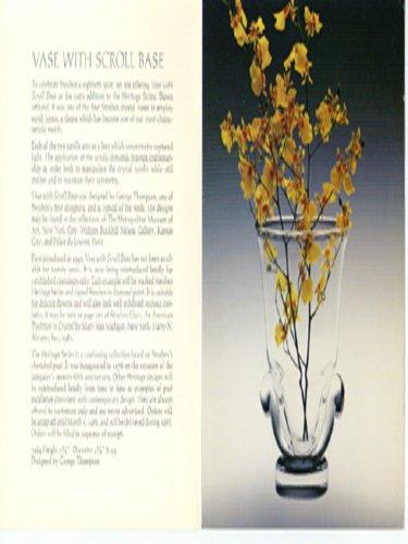 Heritage Vase w/ Scroll Base Steuben folder 1983 (Vases Heritage)