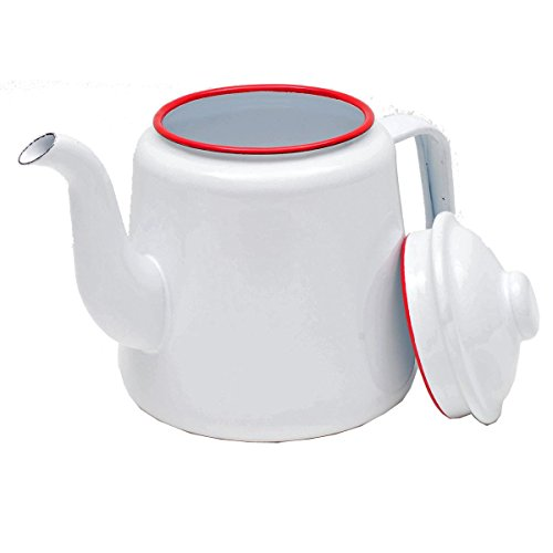 Enamelware 52 Ounce Teapot - Solid White with Red Rim