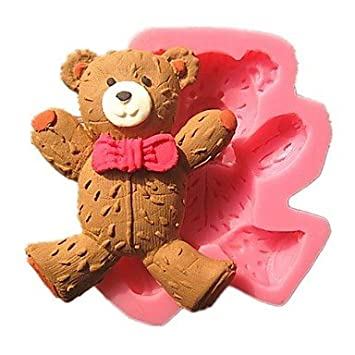 linda que llevaba corbata oso de peluche moldes de pastel fondant jabón del molde de chocolate para la hornada de la cocina decoración herramienta de: ...