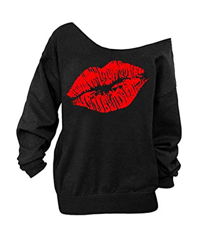 Begonia.K Women's Sexy Pullover Lips Print Casual Off The Shoulder Slouchy Shirt (Medium, Red Lip)