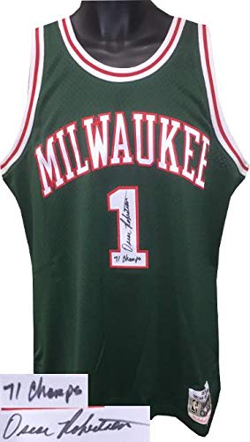 2957bd62f1d59 Signed Oscar Robertson Jersey - Mitchell   Ness Hardwood Classics Green 71  Champs Witnessed Holo -