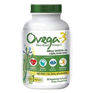 Ovega-3 Vegan Algae Omega-3 Daily Supplement   Supports Heart, Brain and Eye Health* 500 mg Omega-3s   135 mg EPA + 270 mg DHA   Fish Oil Alternative   No Fishy Aftertaste   Vegetarian Softgels 90 CT
