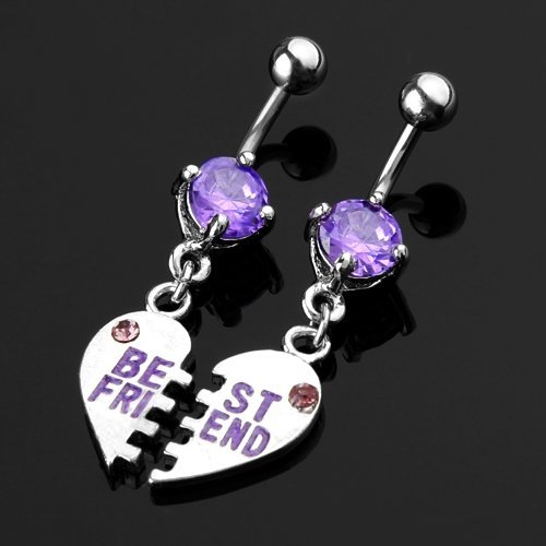 TOOGOO(R) Pair Purple Crystal Belly Navel Bar Ring Body Piercing