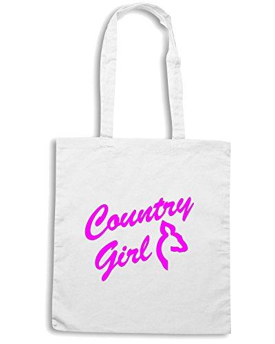 T-Shirtshock - Bolsa para la compra FUN1047 country girl with doe 02874 Blanco