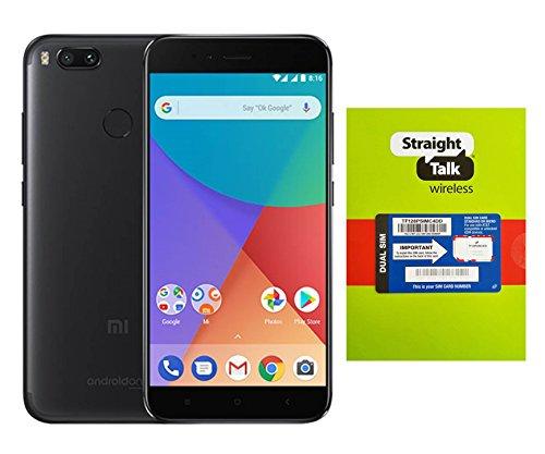 Straight Talk Phone A1 Unlocked Android One 5.5 inch Display 4GB RAM 64GB ROM Dual Camera Fingerprint Sensor Google Project Fi - Black Simple Ir Hub