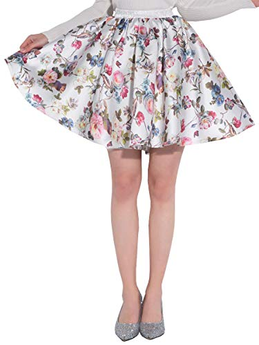 Mini Printed Satin - DYS Women's Stretchy Waist A-line Floral Printed Flared Casual Mini Skirt Vintage F-22 S/M