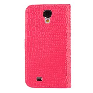 HP Crocodile Grain Full Body Case with Black Mustache Buckle ,Stand and Card Slot for Samsung Galaxy S4 I9500 (Assorted Colors) , Pink