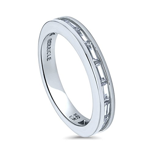 ted Sterling Silver Channel Set Cubic Zirconia CZ Half Eternity Band Ring Size 6 ()