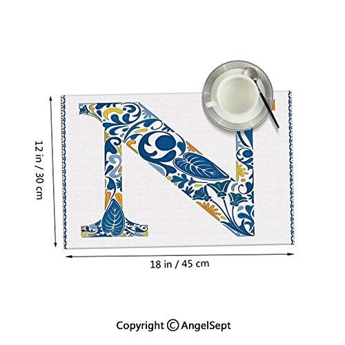 Homenon Placemats for Dining Table Kitchen,Floral Design in Vintage Alphabet Font Design N in Azulejo Inspired Frame Blue Yellow Orange 12x18inches,Outdoor Placemats Set of - Yellow Frame Tinkerbell