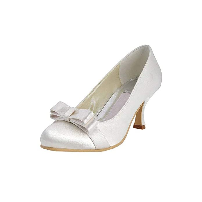 Willsego Womens Mz538 Slip-on Satin Scarpe Da Sera Di Prom Cerimonia Nuziale Raso colore White-6 5cm Heel Dimensione 5 5 Uk