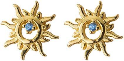 Richight sv925かわいいCZダイヤモンド太陽イヤリング、シンプルな小さな太陽のゴールドピアス、キラキラスターリングシ