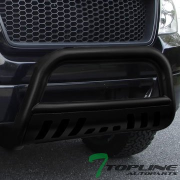 Topline Autopart Matte Black HD Heavyduty Bull Bar Brush Push Front Bumper Grill Grille Guard w/ Skin Plate 05-07 Jeep Grand Cherokee / 06-10 Commander