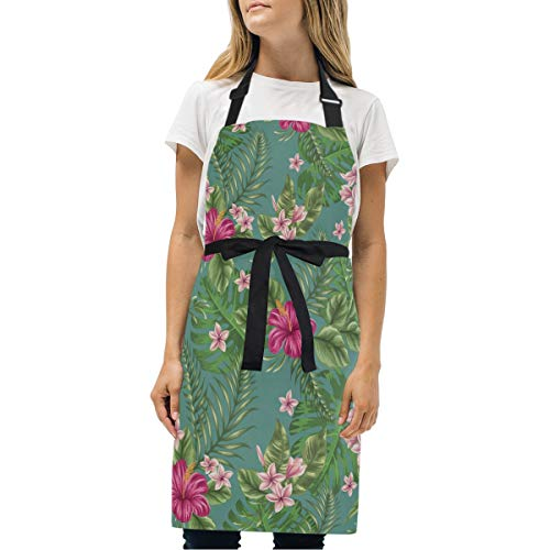 Tropical Colorful Garden Adjustable Bib Apron Kitchen Chef Apron for Women and Men from Anruixian