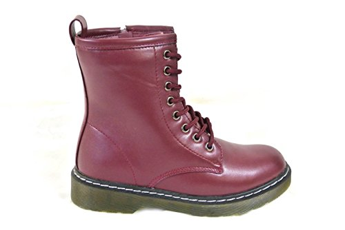 SKO'S Ladies Vintage Lace UP Zip Patent Womens Ankle High Boots Punk Combat Size 3-8 Red (1026-1)