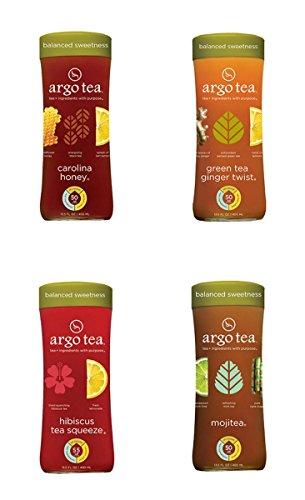 Argo Tea 4 Pack Glass Bottles 13.5floz Each (4 Flavor Sampler Pack)