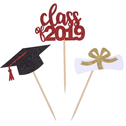 24 CT Graduation Cupcake Toppers Class 2019 Regalia Cap Handcrafted Graduation Party Picks Cake Decorations