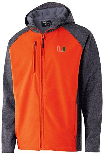 Miami Hurricanes Jacket - Ouray Sportswear NCAA Miami Hurricanes Men's Raider Soft Shell Jacket, Large, Carbon Print/Orange