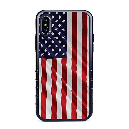 Dog Protector Case - Guard Dog Star Spangled Banner Rugged American Flag Hybrid Phone Case for iPhone X/XS with Guard Glass Screen Protector, Black with Dark Blue Silicone