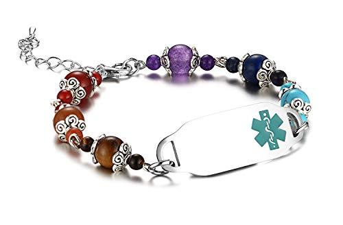 JF.JEWELRY Medical Alert ID Bracelet for Women with Natural Stone Beads Custom Engraving - Medical Bracelet Alert Bead