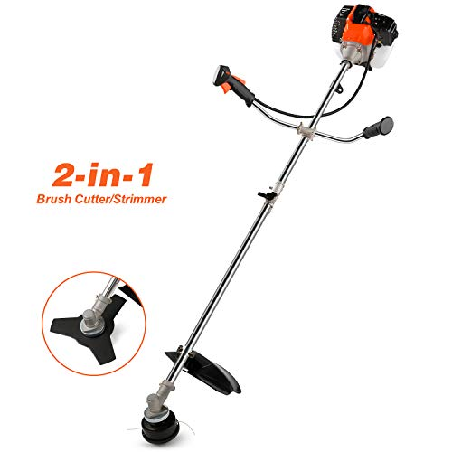 COOCHEER 42.7CC 2-Cycle Gas Straight Shaft String Trimmer and Brush Cutter with Detachable Head for Trimming Weed, Brush Cutting, 2-in-1 Weed Trimmer